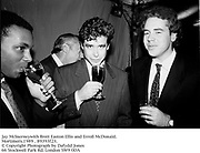Jay McInerneywith Brett Easton Ellis and Erroll McDonald.<br /> Mortimers.1989 . 89393f23.<br /> &copy; Copyright Photograph by Dafydd Jones<br /> 66 Stockwell Park Rd. London SW9 0DA<br /> Tel 0171 733 0108