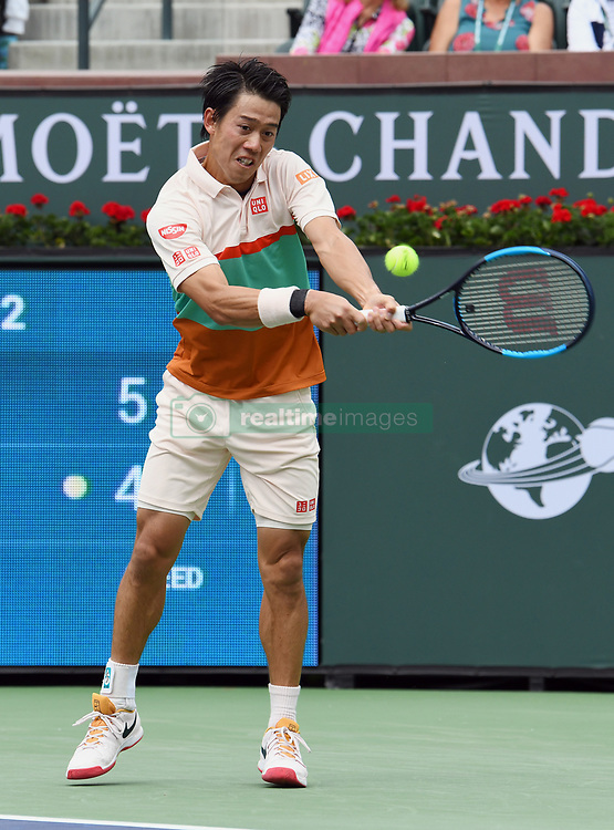 March 10, 2019 - Indian Wells, CA, U.S. - INDIAN WELLS, CA - MARCH 10: Kei Nishikori (JPN) returns the ball in the first set of a match played at the BNP Paribas Open on March 10, 2019 at the Indian Wells Tennis Garden in Indian Wells, CA. (Photo by John Cordes/Icon Sportswire) (Credit Image: © John Cordes/Icon SMI via ZUMA Press)
