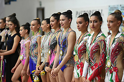 July 28, 2018 - Chieti, Abruzzo, Italy - Italian Rhythmic gymnasts from left Eva Swahili Gherardi, Annapaola Cantatore, Alessia Russo, Alexandra Agiurgiuculese, Milena Baldassarri, Alessia Maurelli e Anna Basta during the Rhythmic Gymnastics pre World Championship Italy-Ukraine-Germany at Palatricalle on 29th of July 2018 in Chieti Italy  (Credit Image: © Franco Romano/NurPhoto via ZUMA Press)