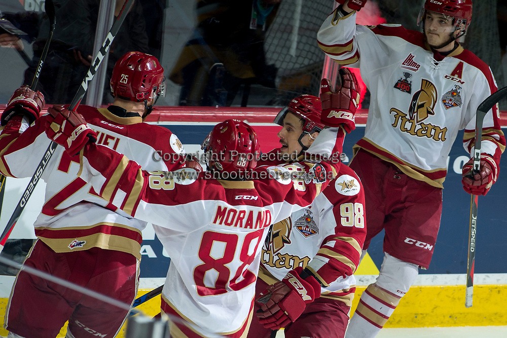 REGINA, SK - MAY 22:  Acadie-Bathurst Titan celebrate a goal against the Hamilton Bulldogs at Brandt Centre - Evraz Place on May 22, 2018 in Regina, Canada. (Photo by Marissa Baecker/Getty Images)