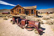 House and rusted car, Bodie State Historic Park, California USA