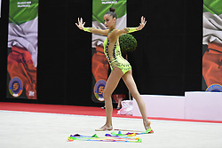July 28, 2018 - Chieti, Abruzzo, Italy - Rhythmic gymnast Yeva Meleshchuk of Ukraine performs her ribbon routine during the Rhythmic Gymnastics pre World Championship Italy-Ukraine-Germany at Palatricalle on 29th of July 2018 in Chieti Italy. (Credit Image: © Franco Romano/NurPhoto via ZUMA Press)