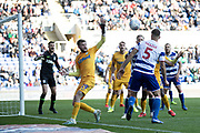 goalmouth action with Tom Barkhuizen (29) of Preston North End and Matt Miazga (5) of Reading during the EFL Sky Bet Championship match between Reading and Preston North End at the Madejski Stadium, Reading, England on 19 October 2019.