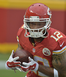 Aug 28, 2015; Kansas City, MO, USA; Kansas City Chiefs wide receiver Albert Wilson (12) warms up before the game against the Tennessee Titans at Arrowhead Stadium. The Chiefs won 34-10. Mandatory Credit: Denny Medley-USA TODAY Sports