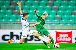Jan Andrejašič of Celje vs Stefan Savić of Olimpija during football match between NK Olimpija Ljubljana and NK Celje in 3rd Round of Prva liga Telekom Slovenije 2018/19, on Avgust 05, 2018 in SRC Stozice, Ljubljana, Slovenia. Photo by Vid Ponikvar / Sportida