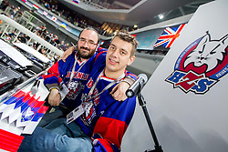 Jure Mastnak and Rok Trkaj, moderators during ice-hockey match between Slovenia and Japan at IIHF World Championship DIV. I Group A Slovenia 2012, on April 16, 2012 in Arena Stozice, Ljubljana, Slovenia. (Photo by Vid Ponikvar / Sportida.com)