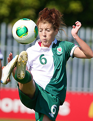 HAVERFORDWEST, WALES - Sunday, August 25, 2013: Wales' Angharad James in action against France during the Group A match of the UEFA Women's Under-19 Championship Wales 2013 tournament at the Bridge Meadow Stadium. (Pic by David Rawcliffe/Propaganda)