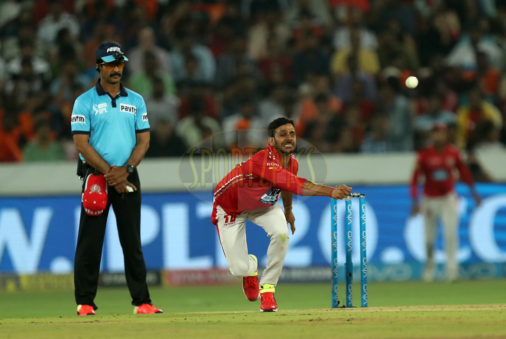 Manoj Tiwary of Kings XI Punjab during match twenty five of the Vivo Indian Premier League 2018 (IPL 2018) between the Sunrisers Hyderabad and the Kings XI Punjab  held at the Rajiv Gandhi International Cricket Stadium in Hyderabad on the 26th April 2018.<br /> <br /> Photo by: Prashant Bhoot /SPORTZPICS for BCCI