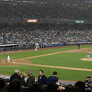 Curtis Granderson, New York Yankees, hits the first of his two home runs during the New York Yankees V Boston Red Sox Baseball game which the Yankees won 14-2 to become American League East champions at Yankee Stadium, The Bronx, New York. 4th October 2012. Photo Tim Clayton