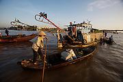 Mekong Delta. Early morning at Cai Rang Floating Market on Can Tho River. Rower avoiding long tail motors.
