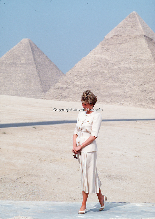 PYRAMIDS, EGYPT:   Diana, Princess of Wales shows her lonliness as she poses at the Pyramids in Egypt in 1992.
