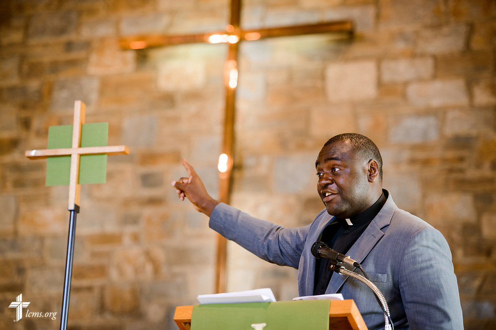 Joseph Lewis, a seminarian in the Ethnic Immigrant Institute of Theology (EIIT) program at Concordia Seminary, St. Louis, preaches during worship on Sunday, Aug. 6, 2017, in his parish Lamb of God Lutheran Church, housed in Ascension Lutheran Church, Landover Hills, Md. LCMS Communications/Erik M. Lunsford