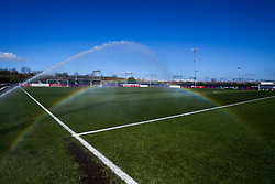 A general view of Stoke Gifford Stadium, home to Bristol City Women as a sprinkler goes off producing a rainbow - Mandatory by-line: Robbie Stephenson/JMP - 24/03/2019 - FOOTBALL - Stoke Gifford Stadium - Bristol, England - Bristol City Women v Everton Ladies - FA Women's Super League