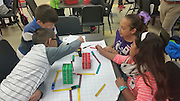 Students from Herrera ES create an obstacle course and write code to navigate it.