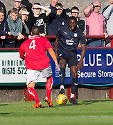 Dundee&rsquo;s Genserix Kusunga is closed down by a Brechin trialist - Brechin City v Dundee pre-season friendly at Glebe Park, Brechin, <br /> <br /> <br />  - &copy; David Young - www.davidyoungphoto.co.uk - email: davidyoungphoto@gmail.com