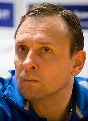 Head coach of Dinamo Yury Cherednik at press conference after the 1st Semifinal match of CEV Indesit Champions League FINAL FOUR tournament between PGE Skra Belchatow, Poland and Dinamo Moscow, Russia, on May 1, 2010, at Arena Atlas, Lodz, Poland. (Photo by Vid Ponikvar / Sportida)