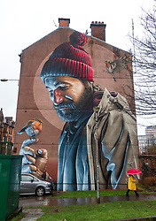 Murals painted on buildings in central Glasgow, Scotland , UK.
