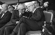 Roma 1986.Festa della Polizia.Francesco Cossiga, Presidente della Repubblica Italiana con Amintore Fanfani, Presidente del Senato