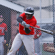 William Penn Catcher Xavier Swann (28) attempts to make contact with the ball during of a varsity scheduled game between the Colonials of William Penn and The St. Elizabeth Vikings Saturday, April 25, 2015, at William Penn High School baseball field in New Castle Delaware.<br /> <br /> William Penn defeats St. Elizabeth 6-5