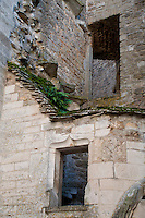 Detail of the buildings and architectural details on the inner courtyard of Chateauneuf-en-Auxois.