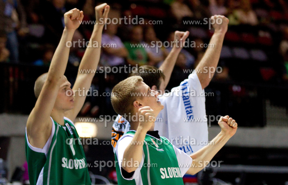 Edo Muric of Slovenia, Luka Rupnik of Slovenia react during basketball match between National teams of Ukraine and Slovenia in Group D of Preliminary Round of Eurobasket Lithuania 2011, on September 1, 2011, in Arena Svyturio, Klaipeda, Lithuania. Slovenia defeated Ukraine 68 - 64. (Photo by Vid Ponikvar / Sportida)