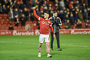Conor Chaplin of Barnsley FC celebrates after the EFL Sky Bet Championship match between Barnsley and Huddersfield Town at Oakwell, Barnsley, England on 11 January 2020.