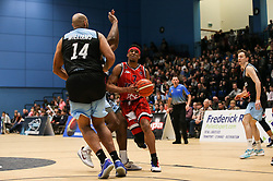 Justin Gray of Bristol Flyers on the attack - Photo mandatory by-line: Arron Gent/JMP - 28/04/2019 - BASKETBALL - Surrey Sports Park - Guildford, England - Surrey Scorchers v Bristol Flyers - British Basketball League Championship