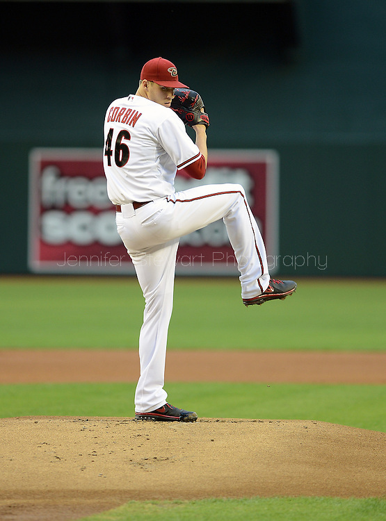 May 14, 2013; Phoenix, AZ, USA; Arizona Diamondbacks pitcher Patrick Corbin (46) pitches against the Atlanta Braves at Chase Field. The Diamondbacks defeated the Braves 2-0.  Mandatory Credit: Jennifer Stewart-USA TODAY Sports