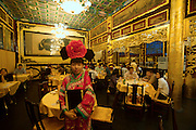 "Qiongdao (Jade Island) in Beihai Lake. Fangshan Imperial Food Restaurant. Waitresses dressed ""imperial style""."
