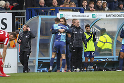 March 9, 2019 - High Wycombe, Buckinghamshire, United Kingdom - Wycombe's manager Gareth Ainsworth hugs Matt Bloomfield as he goes off as sub on his 500th appearance during the Sky Bet League 1 match between Wycombe Wanderers and Sunderland at Adams Park, High Wycombe, England  on Saturday 9th March 2019. (Credit Image: © Mi News/NurPhoto via ZUMA Press)