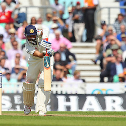 India's Ajinkya Rahane playing safe during the first day of the Investec 5th Test match between England and India at the Kia Oval, London, 15th August 2014 © Phil Duncan | SportPix.org.uk