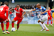 Charlton Athletic Callum Harriott (11) plays a pass during the Sky Bet Championship match between Queens Park Rangers and Charlton Athletic at the Loftus Road Stadium, London, England on 9 April 2016. Photo by Andy Walter.