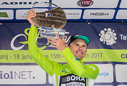 Best in overall classification Rafal Majka (POL) of Bora - Hansgrohe celebrates at trophy ceremony after the last Stage 4 of 24th Tour of Slovenia 2017 / Tour de Slovenie from Rogaska Slatina to Novo mesto (158,2 km) cycling race on June 18, 2017 in Slovenia. Photo by Vid Ponikvar / Sportida
