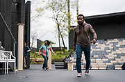 """Gavin Lawrence, right, exits the stage during rehearsal of William Shakespeare's """"Twelfth Night"""" at American Players Theatre in Spring Green, WI on Thursday, May 16, 2019."""