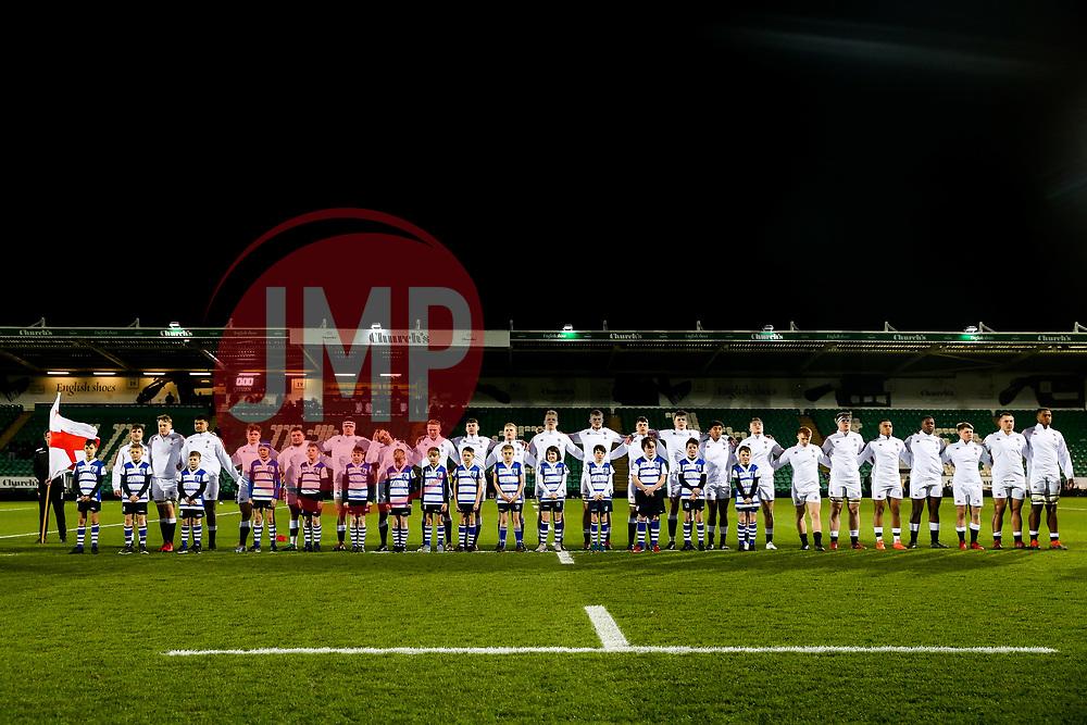 England U20 line up for the national anthem - Rogan/JMP - 21/02/2020 - Franklin's Gardens - Northampton, England - England U20 v Ireland U20 - Under 20 Six Nations.