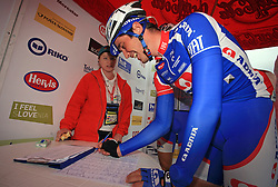 Joze Senekovic of Slovenia (Adria Mobil) signing the list before the start of 3rd stage of the 15th Tour de Slovenie from Skofja Loka to Krvavec (129,5 km), on June 13,2008, Slovenia. (Photo by Vid Ponikvar / Sportal Images)/ Sportida)