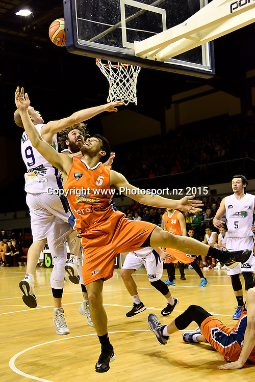 Shea Lli of the Southland Sharks jumps to shoot during the NBL semi final basketball match between Southland and Super City Rangers at the TSB Arena in Wellington on Saturday the 4th of July 2015. Copyright photo by Marty Melville / www.Photosport.nz