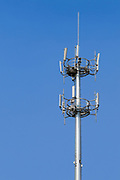 GSM and CDMA cellsite base station antenna array for the cellular telephone system on a pole tower - Nanjing, China