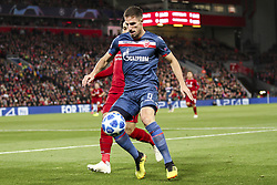 October 24, 2018 - Liverpool, England, United Kingdom - Crvena Zvezda defender Milos Degenek (5) fights for the ball against Liverpool forward Mohamed Salah (11) during the Uefa Champions League Group Stage football match n.3 LIVERPOOL - CRVENA ZVEZDA on 24/10/2018 at the Anfield Road in Liverpool, England. (Credit Image: © Matteo Bottanelli/NurPhoto via ZUMA Press)