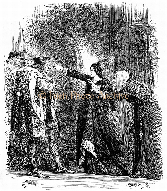 Shakespeare, Richard III Act IV Sc. IV.  Elizabeth Woodville and the Duchess of York, Widow and mother of Edward IV, intercept and remonstrate with Richard III. Illustration by Sir John Gilbert. Engraving, c1858