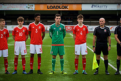 MERTHYR TYDFIL, WALES - Thursday, November 2, 2017: Wales' Callum Jones, Liam Ihekwoaba, goalkeeper Lewis Dutton and Guto Williams before an Under-18 Academy Representative Friendly match between Wales and Newport County at Penydarren Park. (Pic by David Rawcliffe/Propaganda)