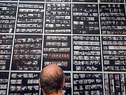 "Portland, Oregon, USA. 26 FEB, 2018. Photographer Robert Frank's contact sheets for The Americans""  at Blue Sky Gallery in Portland, Oregon, USA. The work was destroyed in a ""Destruction Dance"" performance defacing the photographs with ink and mutilation with scissors, knives and even ice skates  at the end of it's run. The destruction was Frank's protest regarding today's greed in the global art market."