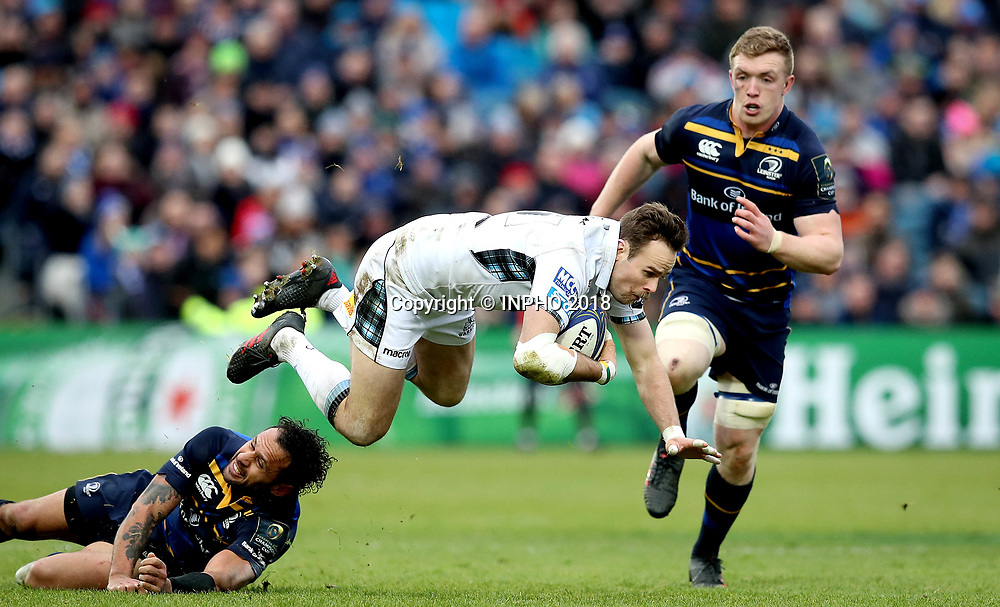 European Rugby Champions Cup Round 5, RDS, Dublin 14/1/2018<br /> Leinster vs Glasgow Warriors<br /> Leinster's Isa Nacewa and Ruaridh Jackson of Glasgow Warriors<br /> Mandatory Credit &copy;INPHO/Ryan Byrne