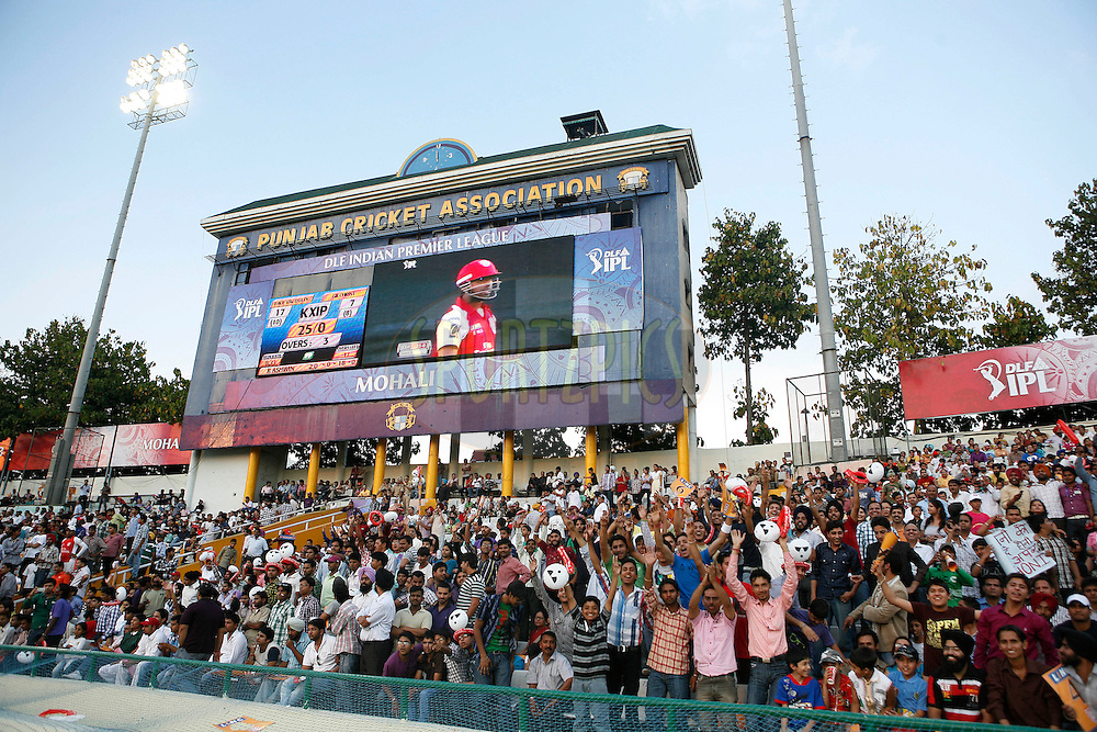 Crowd cheer during match 9 of the Indian Premier League ( IPL ) Season 4 between the Kings XI Punjab and the Chennai Super Kings held at the PCA stadium in Mohali, Chandigarh, India on the 13th April 2011..Photo by Money Sharma/BCCI/SPORTZPICS