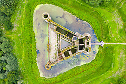 Caerlaverock , Scotland, UK. 14 July, 2020, Aerial view of Caerlaverock Castle in Dumfries and Galloway. Historic Environment Scotland is reopening 200 of its unstaffed properties to the public on Wednesday 15 July. Caerlaverock Castle's exterior green spaces are also being opened tomorrow. Iain Masterton/Alamy Live News