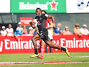 Fijian Sevuloni Mocenacagi flies  down the sideline to score a try during the Emirates Dubai rugby sevens match between Fiji  and France  at the Sevens Stadium, Al Ain Road, United Arab Emirates on 3 December 2016. Photo by Ian  Muir.*** during the Emirates Dubai rugby sevens match between *** and *** at the Sevens Stadium, Al Ain Road, United Arab Emirates on 3 December 2016. Photo by Ian  Muir.