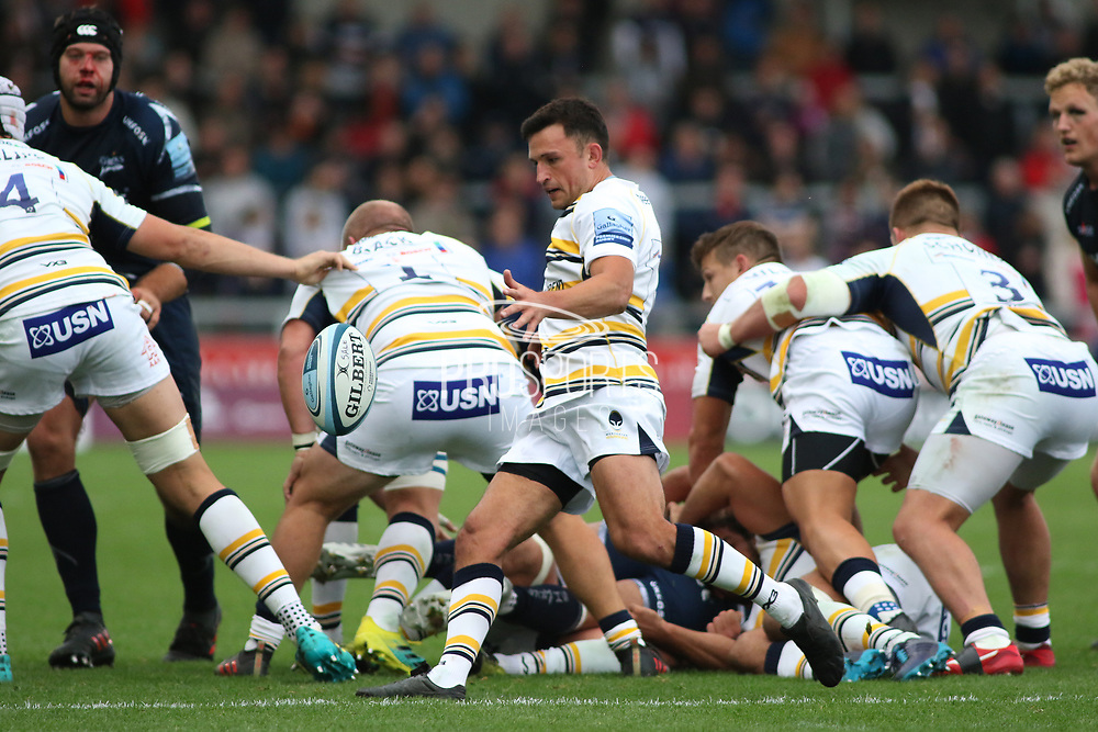 Jonny Arr Worcester Warriors during the Gallagher Premiership Rugby match between Sale Sharks and Worcester Warriors at the AJ Bell Stadium, Eccles, United Kingdom on 9 September 2018.