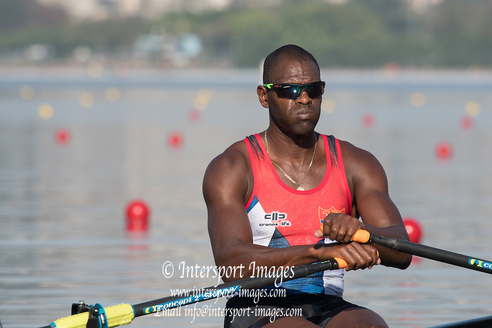 Rio de Janeiro. BRAZIL.  CUB M1X<br /> Angel FOURNIER RODRIGUEZ, Angel Rio de Janeiro. BRAZIL.   2016 Olympic Rowing Regatta. Lagoa Stadium,<br /> Copacabana,  &ldquo;Olympic Summer Games&rdquo;<br /> Rodrigo de Freitas Lagoon, Lagoa.    Saturday  06/08/2016 [Mandatory Credit:Peter SPURRIER/Intersport Images]