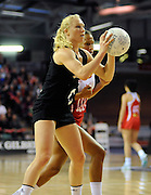 Laura Langman in action, during New World Netball Series, New Zealand Silver Ferns v England at The ILT Velodrome, Invercargill, New Zealand. Thursday 6 October 2011 . Photo: Richard Hood photosport.co.nz