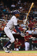 PHOENIX, AZ - JULY 06:  Melvin Upton Jr. #2 of the San Diego Padres hits an RBI double during the fourth inning against the Arizona Diamondbacks at Chase Field on July 6, 2016 in Phoenix, Arizona.  (Photo by Jennifer Stewart/Getty Images)